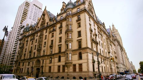 """<strong>The Dakota (New York City):</strong> John Lennon was shot four times inside the driveway of The Dakota as he was returning from his studio on December 8, 1980. Yoko Ono funded a memorial area inside Central Park called Strawberry Fields with """"Imagine"""" written in mosaic."""