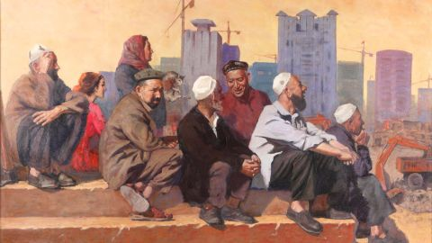 """Memetjan Abdullah's ainting """"Outlook,"""" part of the National Art Museum of China's collection."""