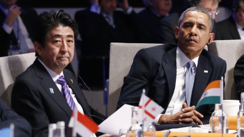 Japanese Prime Minsister Sinzo Abe and U.S. President Barack Obama attend the opening session of the at the 2014 Nuclear Security Summit on March 24, 2014 in The Hague, Netherlands.