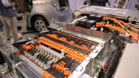 """The inside of a lithium-ion battery used in a Prius plug-in hyrbrid car is on display. """"Li-ion"""" batteries are used extensively in cell phones and laptops."""