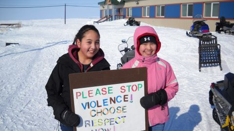 """Young people in Selawik, Alaska, participate in a 2011 """"Choose Respect"""" rally."""