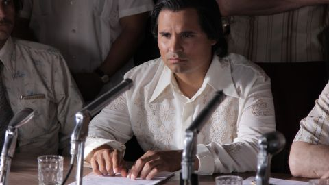 Michael Peña as Cesar Chavez in the face of opposition during the great grape boycott in 1965