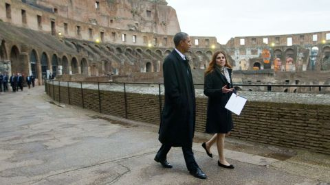 President Barack Obama with Barbara Nazzaro, Technical Director and Architect of the Colosseum, tours the Colosseum in Rome, Thursday, March 27, 2014. The Colosseum was the largest amphitheater of the Roman Empire and is today one of Rome's best know landmarks. (AP Photo/Pablo Martinez Monsivais)