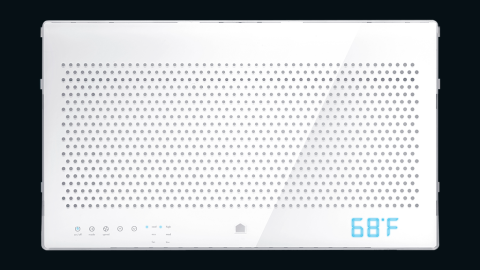 """A connected air-conditioning device, Quirky's <a href=""""https://www.quirky.com/aros"""" target=""""_blank"""" target=""""_blank"""">Aros</a> learns from your budget, location, schedule and usage to maintain the perfect temperature and maximize savings for your home."""