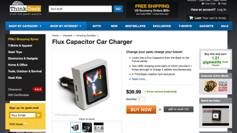 """ThinkGeek offered this """"<a href=""""http://www.thinkgeek.com/product/1ba1/?pfm=af14_homepage_Featured_4_1ba1"""" target=""""_blank"""" target=""""_blank"""">Flux Capacitor Car Charger,</a>"""" inspired by the """"Back to the Future"""" movies."""