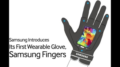 """Samsung unveiled <a href=""""http://global.samsungtomorrow.com/?p=35430"""" target=""""_blank"""" target=""""_blank"""">Samsung Fingers</a>, which includes a flexible LED screen on your palm, a 16-megapixel camera on your finger and 5G connectivity. Somehow, this actually looks like a real product."""