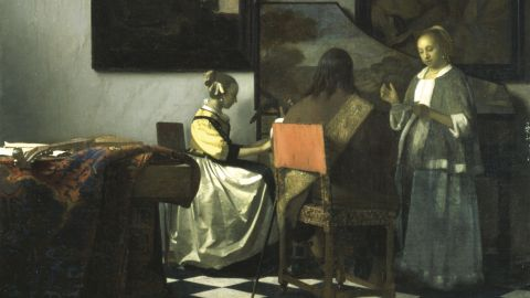 """Detail from Johannes Vermeer's """"The Concert"""" (1658-1660) stolen from the Isabella Stewart Gardner Museum in the U.S. city of Boston in 1990."""
