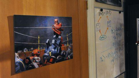 "This ""Rock 'Em Sock 'Em Robots"" poster was created by artist Eric Joyner, a friend  Molaro's."