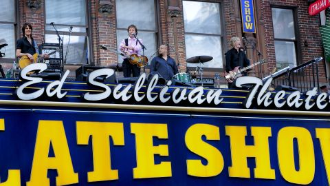 """Musician Paul McCartney took over the marquee of the Ed Sullivan Theater, where the Beatles made big news in 1964, to performs for the '""""Late Show"""" on July 15, 2009."""