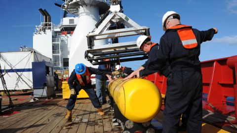 In this handout image provided by the U.S. Navy, The Bluefin 21, Artemis autonomous underwater vehicle (AUV) is hoisted back on board the Australian Defence Vessel Ocean Shield after successful buoyancy testing April 1, 2014 in the Indian Ocean. Joint Task Force 658 is currently supporting Operation Southern Indian Ocean, searching for the missing Malaysia Airlines flight MH370. The airliner disappeared on March 8 with 239 passengers and crew on board and is suspected to have crashed into the southern Indian Ocean. (Photo by Mass Communication Specialist 1st Class Peter D. Blair/U.S. Navy via Getty