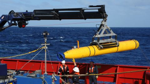 AT SEA - APRIL 1: In this handout image provided by the U.S. Navy, The Bluefin 21, Artemis autonomous underwater vehicle (AUV) is hoisted back on board the Australian Defence Vessel Ocean Shield after successful buoyancy testing April 1, 2014 in the Indian Ocean. Joint Task Force 658 is currently supporting Operation Southern Indian Ocean, searching for the missing Malaysia Airlines flight MH370. The airliner disappeared on March 8 with 239 passengers and crew on board and is suspected to have crashed into the southern Indian Ocean. (Photo by Mass Communication Specialist 1st Class Peter D. Blair/U.S. Navy via Getty Images)
