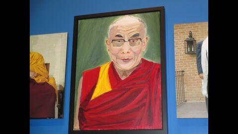 Bush's portrait of the Dalai Lama is seen at the exhibit.