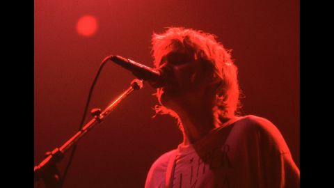 Cobain performs in 1992.