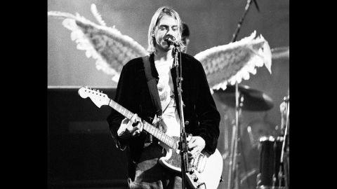 Cobain performs with Nirvana at The Pier in Seattle in 1993.