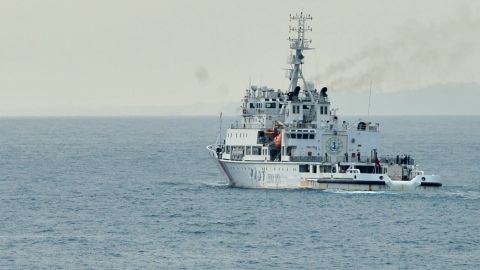 """Caption: (140319) -- ABOARD NANHAIJIU 115, March 19, 2014 (Xinhua) -- The Chinese rescue vessel """"Haixun 01"""" sails off from Singapore to Sunda Strait, March 19, 2014. Chinese vessels set on Wednesday for new search areas to hunt the missing Malaysia Airlines jetliner when a multinational search mission for MH370 enters its 12th day. (Xinhua/Zhao Yingquan)(ctt) XINHUA /LANDOV   Photographers/Source: ZHAO YINGQUAN/Xinhua /Landov"""