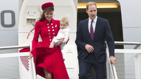 Britain's Prince William and Catherine, Duchess of Cambridge with Prince George arrive for their visit to New Zealand at the International Airport, in Wellington, New Zealand, Monday, April 7.