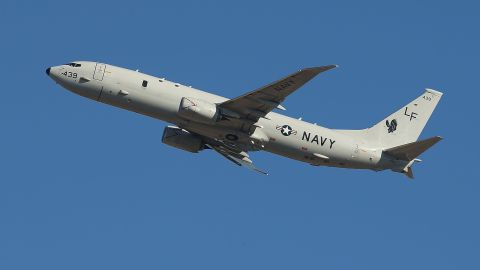 A U.S. Navy airplane takes off from Perth to assist in the search on April 7.