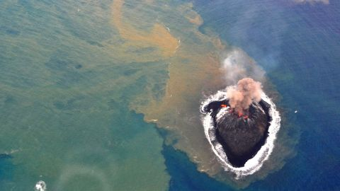 Two volcanic craters are shown on Niijima on November 22, 2013.