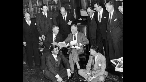 On September 12, 1935, Franklin D. Roosevelt and his staff met to find a solution to the economic crisis. FDR's New Deal policies tightened regulation of Wall Street, strengthened unions and set the top marginal tax rate for the rich at 90%.