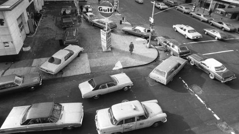 In the 1970s, income inequality began to rise. The economy experienced wage and inflation problems, along with an oil crisis that caused a gasoline shortage. Here, a gas station in New York.
