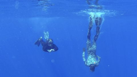 Australian Defense Force divers scan the water for debris in the southern Indian Ocean on April 7, 2014.