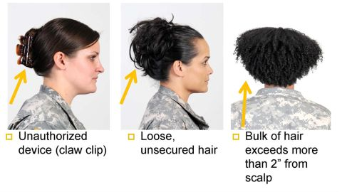 Hair with thickness that extends more than 2 inches past the scalp and twists--even those that can be undone--are not allowed.