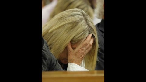 June Steenkamp, Reeva Steenkamp's mother, reacts as she listens to Pistorius' testimony on April 8.