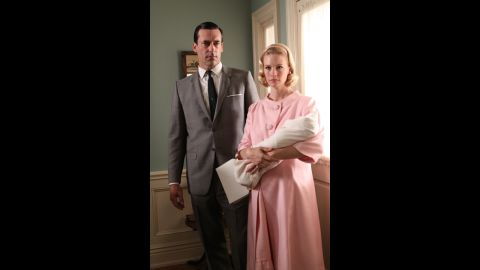 The maternity ensemble Betty wears in the third season, from 1963, represents a social norm about privacy that eroded as the 1960s came to a close. The concealing nature of her outfit maintained the idea that a woman's body and personal life were to be clear only to intimate relations, Przybyszewski said.