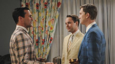 """""""It looks like a convention of men selling used cars,"""" Przybyszewski said of the bold blazers worn in the fifth season of """"Mad Men."""" Ad men would never wear these outfits to the office in 1966, but it signifies a move away from their previously slender silhouettes. """"Many a large person has been scared off from wearing plaids,"""" she said. """"Plaids always look bigger."""""""