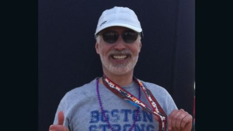 """<a href=""""http://ireport.cnn.com/docs/DOC-1076632"""">Terry Moorhead</a> of Phoenix did not plan to run another marathon -- this was his sixth -- but after the bombings, """"I I felt compelled to do at least one more. I think about how lucky I am to be able to run, and I will never take it for granted."""" He proudly wore a Boston Strong shirt for the Arizona Rock 'n' Roll Marathon in January 2014."""