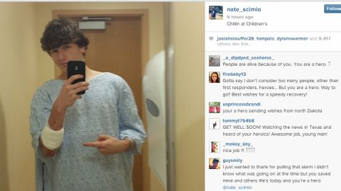 Nate Scimio posted this selfie after the school stabbing Wednesday.