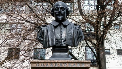 This statue of Shakespeare sits in front of the remains of St. Mary Aldermanbury parish in the City of London. The Bard, considered by many the greatest writer in the English language, wrote 38 plays and more than 100 sonnets.