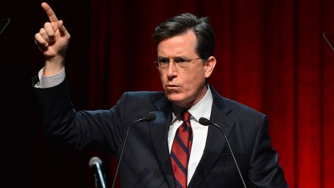 NEW YORK, NY - DECEMBER 11:  Satirist Stephen Colbert speaks onstage at Robert F. Kennedy Center For Justice And Human Rights 2013 Ripple Of Hope Awards Dinner at New York Hilton Midtown on December 11, 2013 in New York City.  (Photo by Stephen Lovekin/Getty Images for Robert F. Kennedy Center For Justice And Human Rights)