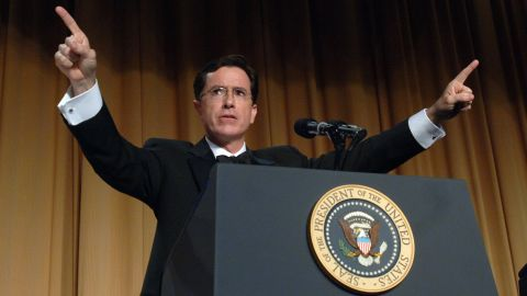 WASHINGTON - APRIL 29:  (AFP OUT)  Comedian Stephen Colbert entertains guests at the White House Correspondents' Dinner April 29, 2006 in Washington, DC. (Photo by Roger L. Wollenberg-POOL/Getty Images)
