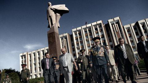 Igor Smirnov, the former president of Transnistria, attends the celebrations on Independence day in Tiraspol, Transnistria on September 2, 2009.