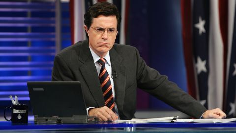 NEW YORK - NOVEMBER 2:  Correspondent Steve Colbert appears during live Election Night coverage of The Daily Show with Jon Stewart November 2, 2004 in New York City.  (Photo by Frank Micelotta/Getty Images)