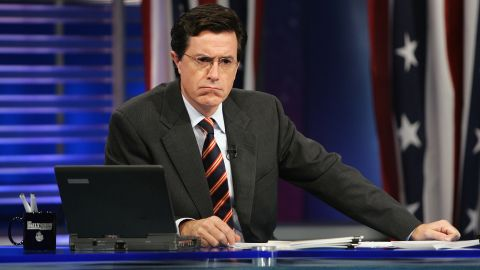 """As correspondent, Colbert was key to """"The Daily Show's"""" election coverage. Here he takes part in Election Night 2004."""