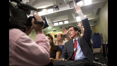 The White House hasn't been immune to Colbert's charms. He showed up for a mock press conference in 2007.
