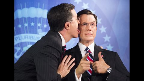Colbert's character definitely loves himself. He went so far as to lick himself during the unveiling of his wax figure at the Madame Tussauds wax museum in Washington in 2012.