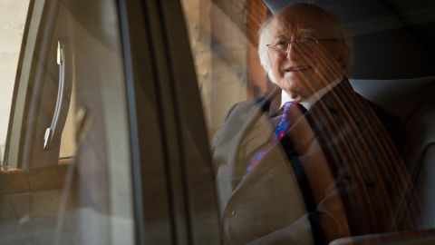 Irish President Michael D. Higgins leaves Windsor Castle in southern England on Friday, April 11, at the end of his official visit to the United Kingdom. Higgins is the first Irish head of state to make a state visit to the UK.