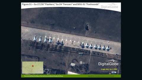 A satellite photo from DigitalGlobe, taken on April 2, purportedly shows a buildup of Russian military planes at the formerly vacant Buturlinovka air base in southwest Russia.