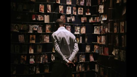 Family photos of victims of the 1994 Rwanda genocide hang inside the Kigali Genocide Memorial Centre in the country's capital of Kigali on April 5.