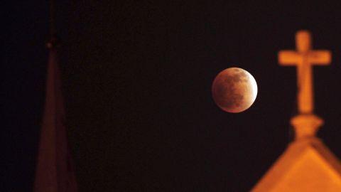 A total lunar eclipse is seen in Karachi, Pakistan, on December 10, 2011.