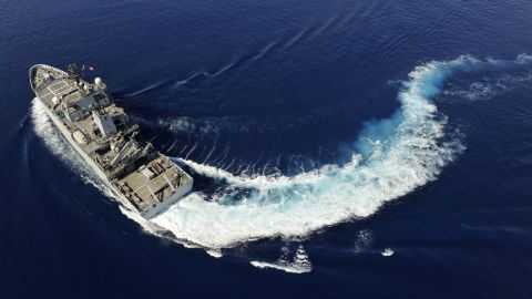 The HMS Echo, a vessel with the British Roya; Navy, moves through the waters of the southern Indian Ocean on April 12, 2014.