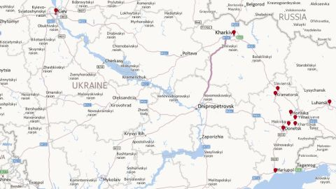 Map: Towns in eastern Ukraine affected