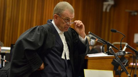 State prosecutor Gerrie Nel questions Oscar Pistorius during cross examination in the Pretoria High Court on April 14, 2014, in Pretoria, South Africa.