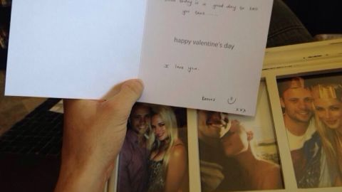 Valentine's Day card and present from Reeva Steenkamp to Oscar Pistorius.