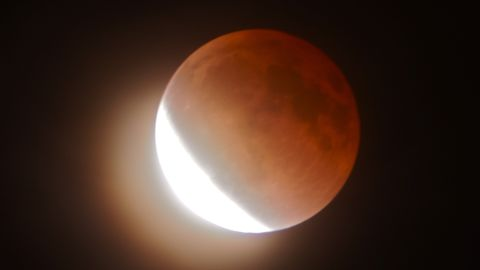 """Osorio was part of a small group of past and present physics students from California State University Northridge that got together to view the lunar eclipse and blood moon. """"The meeting was spontaneous,"""" said Osorio, an alumnus.<br /><br /><strong>Click the double arrow to see more photos.</strong>"""
