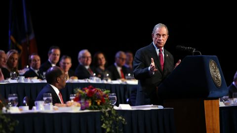 Bloomberg speaks to the Economic Club of New York in December in his last major speech as mayor.