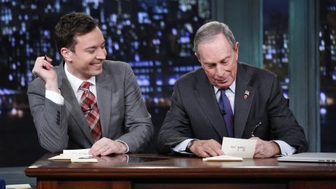Talk show host Jimmy Fallon welcomes Bloomberg to join him in writing thank-you notes in December.